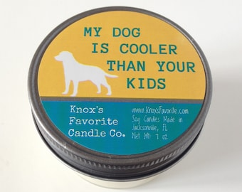 Scented Candle, Soy Candle, Mason Jar, Dog Lover Gift, Funny Dog Person Candle, Dog Lover Candle, Gift for Her, Dog is cooler than your kids
