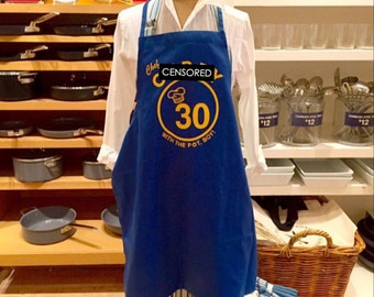 Custom Personalized Warriors Inspired Chef Style Apron, - Christmas gift idea, Birthday gift ideas, BBQ, Barber