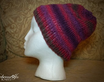 Colorful Pink / Purple Lightweight Knit Tobaggan Hat