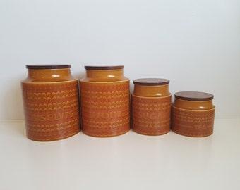 Vintage Hornsea Canister Set,  Canister Set - Biscuits, Tea, Sugar - Set of Four Kitchen Canisters