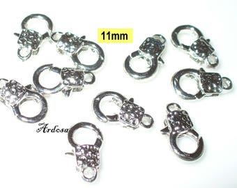 10 decorative carabiners silver bright 11x6mm (K110. 11)