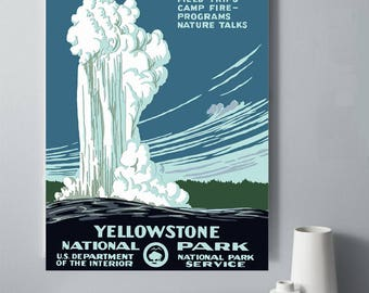 WPA Yellowstone Printable Poster, ART DECO 1930s Travel Poster, Vintage American Landscape, Old Faithful, Yellowstone National Park