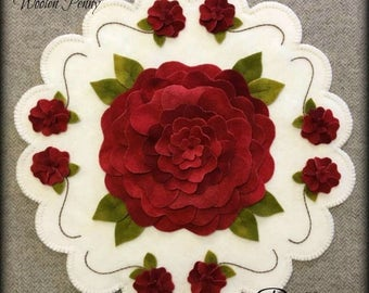 Roses are Red Wool Applique Penny Rug PATTERN