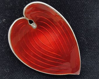 Red Guilloche Enamel Norwegian Silver Brooch