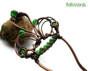 Metal hair clip, Copper hair fork, Wire wrapped hair accessories, Copper hair comb, Crown hair clip, Bun pin, Hair stick, Hair pin, Hairwire