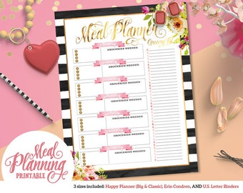 Printable Black & White Floral Weekly Meal Planner | For Happy Planner | Erin Condren | U.S. Letter Binders | Instant Download