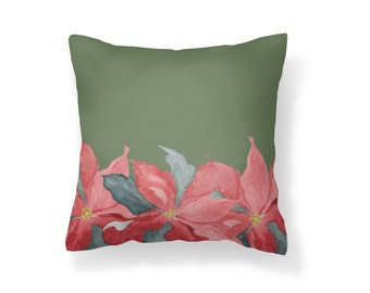 Throw Pillow Poinsettia, Decroative Pillow, Poinsettia Green, Christmas Pillow