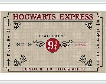 Hogwarts Express Ticket Cross Stitch Pattern PDF Hogwarts Express Train cross stitch pattern Harry Potter Cross stitch chart X228