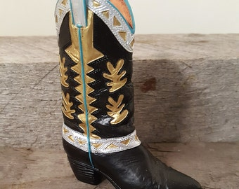 Black and Gold Cowboy Boots Minature Shoe collectors delight