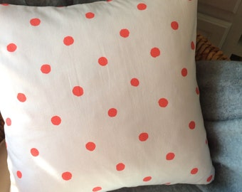 Kate Spade coral dot fabric pillow cover, coral and white pillow cover, coral polka dot fabric pillow cover