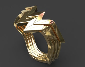 Gold/Rhodium/Rose Gold plated Wonder Woman combined Ring