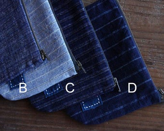 Japanese Indigo Discharge Handcrafted pouch