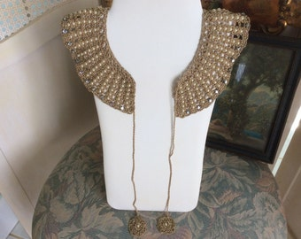 Antique Victorian Necklace Collar, Handmade Pearl and Rhinestone, Gold Knitting, Ties, Mint!