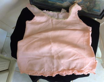 Vinage,1920's Silk Slip, Child's size 8, Peach Colored with Ruffle and Lace