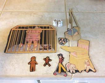 Antique Paper Doll Cardboard Pieces Salvage and Vintage Rubber Doll Shoes, Repurpose