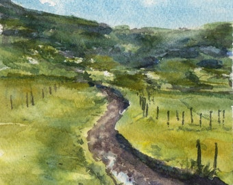 Dirt Road of an Australian Farm, Watercolour Painting, Original Artwork
