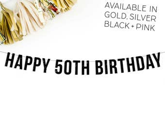 Happy 50th Birthday Banner | 50th birthday party decorations banner sign gold silver pink black party decor fifty over the hill 50th