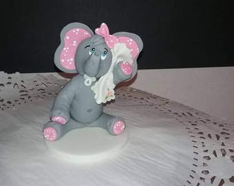 Baby shower elephant cake toppers