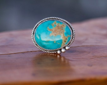 Deep Blue Royston Turquoise and Sterling Silver Statement Ring