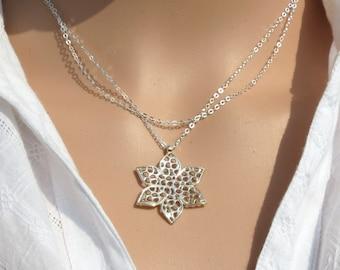 Silver flower necklace, Petal jewelry, Silver chain, Silver flower charm, Silver pendant, Lace jewelry, Minimalist pendant, Lace necklace.