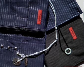 Pipe tobacco, pipe tobacco bag dark blue with Pinstripe
