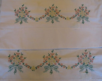 Vintage Embroidered Pillowcases - Pink and Yellow Bouquet with Blue Bow
