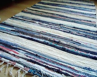 Small Rag Rug, Boho Chic Hippie Rugs, Colorful Cotton Bath Mat, Kitchen Area