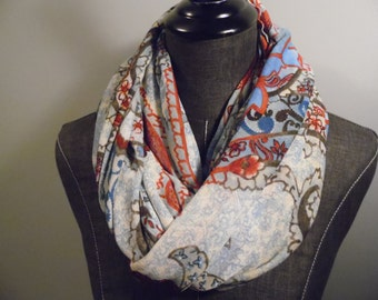 Circle Scarf.Infinity Scarf.Rectangle.Gift.Her.Paisley.Multi Colored.Burnt Red.Blues.Creams,Black.Green.Spring.Seasonal Product ID# SC0057