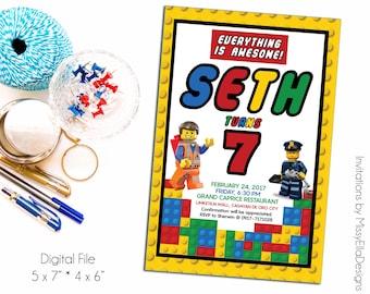 Digital Lego Birthday Invitation   Any Age, Baptism, Baby Shower Invitation   Boys Invitation   Printable Invites