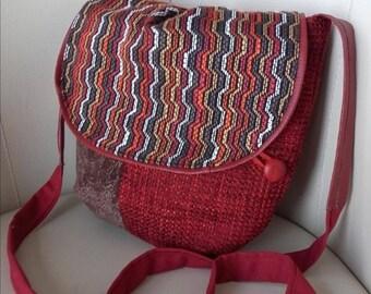 Bag shoulder strap women, shoulder bag leather and fabric(tissue) Bordeaux.