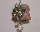 On the Rise - pendant - butterfly - dyed agate - sterling silver wire