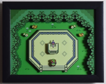 """The Legend of Zelda (SNES) - """"The Master Sword"""" 3D Video Game Shadow Box with Glass Frame"""