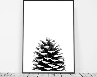 Scandinavian Print, Poster, Affiche Scandinave, Pine Cone Print, Black and White Print, Nature Print, Printable Art Photography
