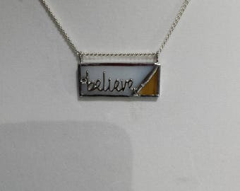 "Stained glass ""Believe"" bar necklace"