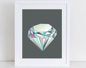 Artistic Gem,Crystal Art, Crystal Print, Gem Art, Gem Print, Gemstone Print, Mineral Art, Boho Decor, Crystal Decor