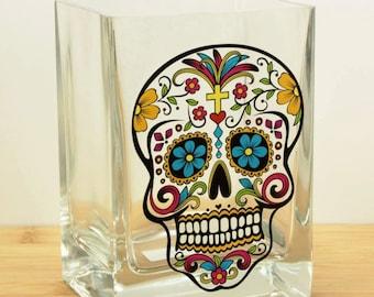 """Dia de los Muertos """"Day of the Dead"""" Candy / Sugar Skull Printed Vase"""
