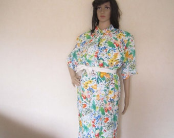 Vintage 80s dress Hardob Germany dress Mille fleurs robe M