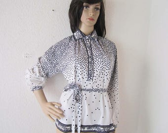 Vintage 80s blouse polka dot Franks forests blouse