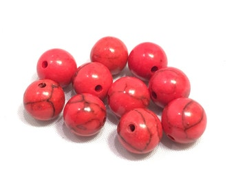 8 mm 10 pc Red Dyed Howlite