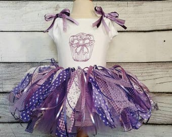First birthday tutu set, first birthday dress, first birthday dress, cupcake tutu set, vintage tutu set, rustic tutu set, flower girl tutu