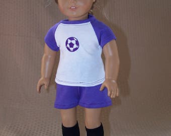 """18"""" Doll Clothes:  Soccer Outfit with Cleats for American Girl"""
