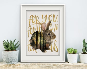 Save the Littles, poster, print, prints, artwork, premium print, wall art, Hare, forest animals