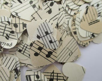Heart Vintage Sheet Music Confetti (500 Pieces), Wedding, Party, Paper Hearts, Re-cycled, Antique, Table Decor