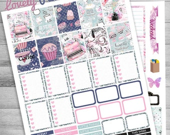 Printable planner Weekly kit, Coffee Planner, Cupcake weekly, Floral, Butterfly, use with EC, ECLP, Groceries, movie, Pink, Teal, Blue,