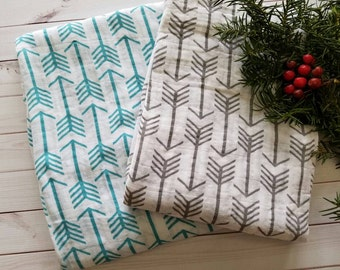 Swaddle Baby Blanket, Swaddle Blanket, Gender Neutral Baby Blanket, Teal and Gray Baby Blanket, Arrow baby Blanket, Baby Shower Gift