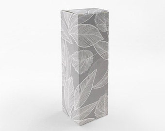 5 small narrow boxes,leaf pattern boxes,candle box,gift box,tall boxes,narrow gift box,gray gift box,stick boxes,leaf gift box,cute gift box