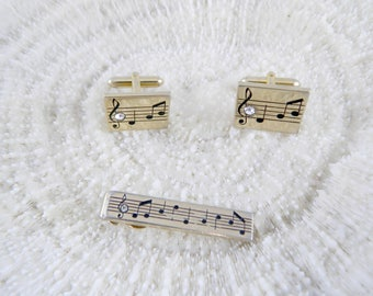 Vintage Tie Clip and Cuff Links ...50s Swank Music Notes Tie Clip and Cuff Link Set