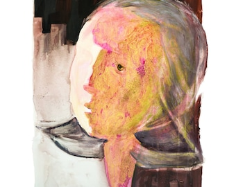 Woman Head Giclee Print, Contemporary Fine Art Print, Large Wall Art, Abstract Painting, Large Abstract Print, Large Portrait,Gold Art Print
