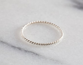 Silver Twist Ring | Sterling Silver Stacking Ring | Dainty Ring | Delicate Ring | Stacking Rings Silver | Modern Minimalist Ring