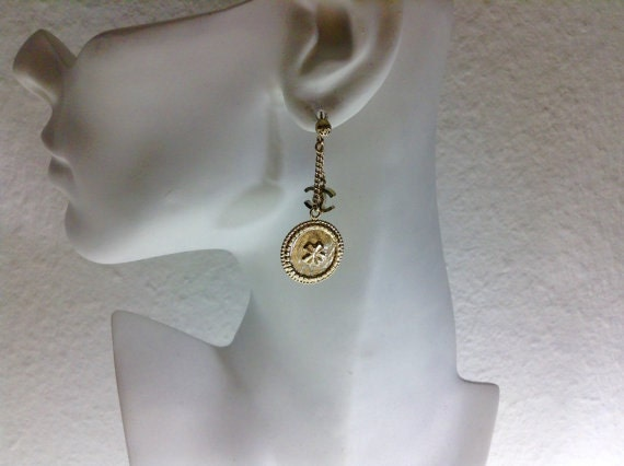 Authentic Chanel double dangles earrings Chanel old stock